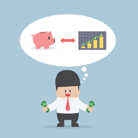 saving: Businessman want to manage his money for saving and investing, VECTOR, EPS10