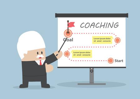 enseñanza: Hombre de negocios mayor enseñanza de cómo lograr el objetivo Vectores
