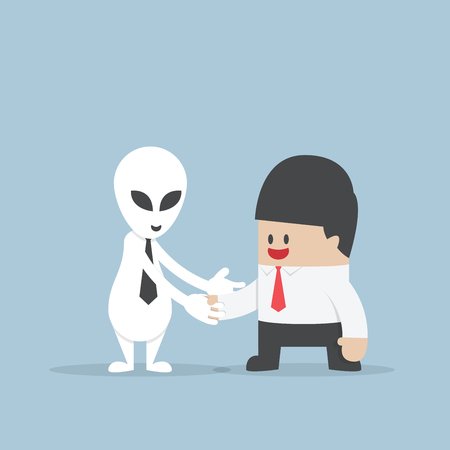 men cartoon: Businessman shaking hands with Alien Illustration