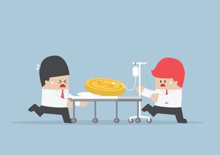 Two businessmen with dollars coin on hospital bed, Financial crisis concept, VECTOR, EPS10