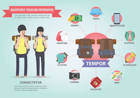 backpacker: Travel infographic design with backpacker icon set Illustration