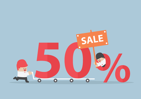 sales promotion: Businessman with discount marketing promotion sales