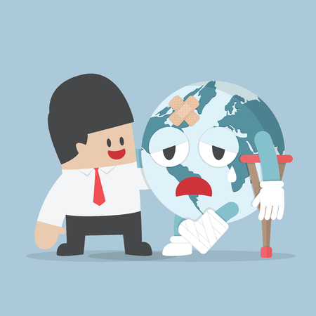 sick people: Businessman help injured planet earth Illustration