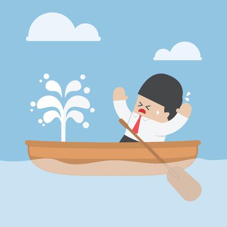 barco caricatura: Empresario de pánico con fugas barco, VECTOR Vectores