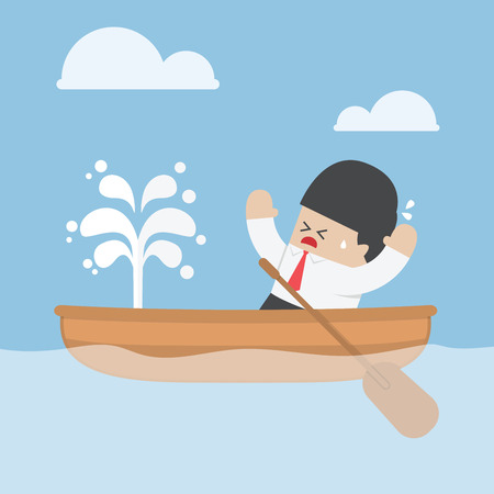 Panic businessman with leaking boat, VECTOR Illustration
