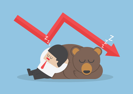 graph down: Businessman sleeping with bear with down trend graph, VECTOR, EPS10 Illustration