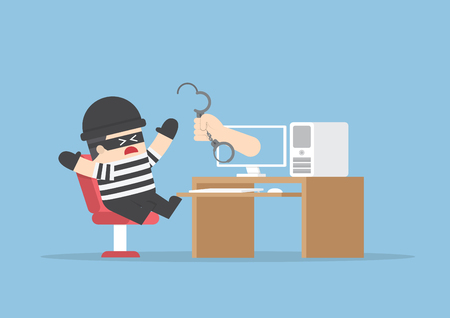 burglar: Hand out from monitor to catch hacker, VECTOR, EPS10 Illustration