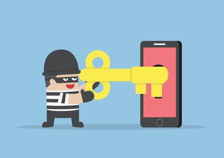 Thief or hacker hacking smartphone by key, VECTOR, EPS10 Stock Illustratie
