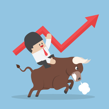 Businessman riding on bull, Bullish stock market concept, VECTOR, EPS10