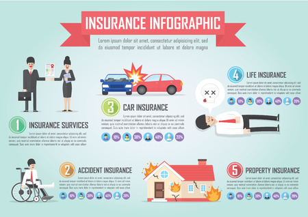 accident: Insurance infographic design template with car,life,accident,property icon, VECTOR, EPS10
