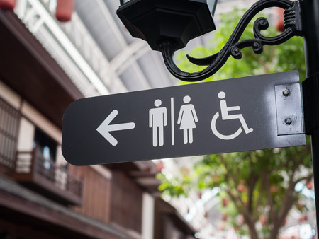 Public restroom signs with a disabled access symbol