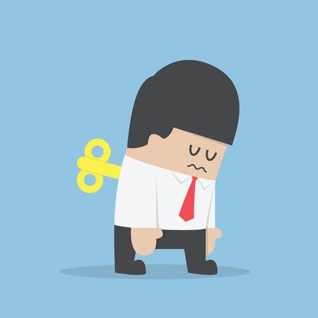viento: Hombre de negocios con clave de Wind-up en su espalda, VECTOR, EPS10 Vectores
