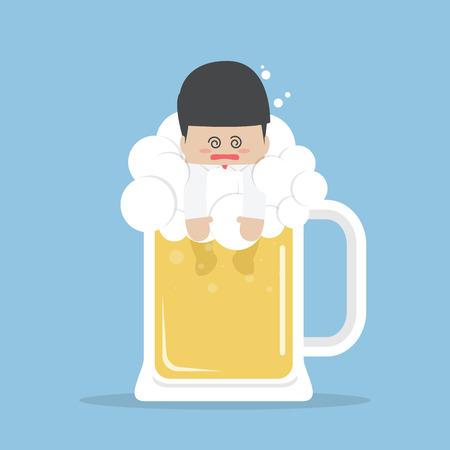 맥주 잔에 술에 취해 사업가, 벡터, 일러스트