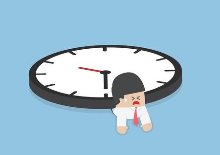 Businessman under the big clock, Deadline, Overtime concept, VECTOR,  Illustration