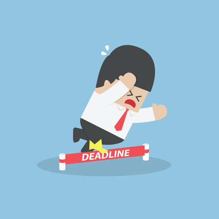 stumble: Businessman stumbling on deadline rope, VECTOR,