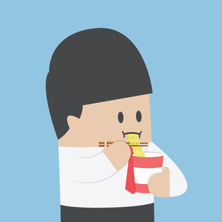 happy people eating: Businessman eating instant noodle cups, VECTOR, EPS10 Illustration