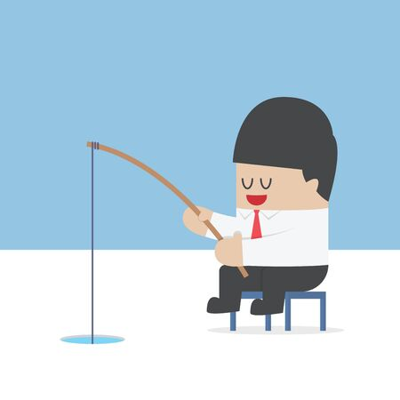 ice fishing: Businessman fishing from a hole on ice, VECTOR, EPS10