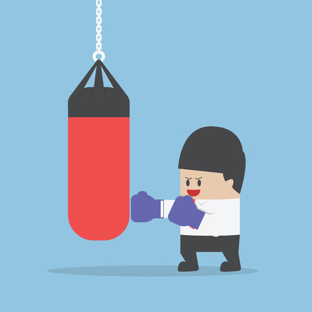 a bag: Businessman wearing boxing gloves and punch the punching bag, VECTOR, EPS10