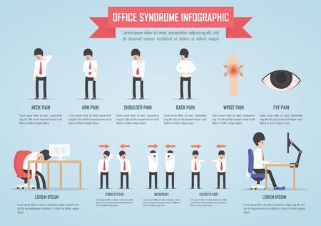 collo: La sindrome Ufficio modello infografica progettazione, vettore, EPS10 Vettoriali