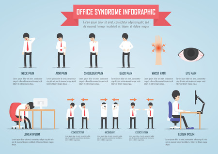 ergonomic: Office syndrome infographic template design, VECTOR, EPS10