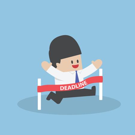 hustle: Businessman crossing the deadline, Deadline concept