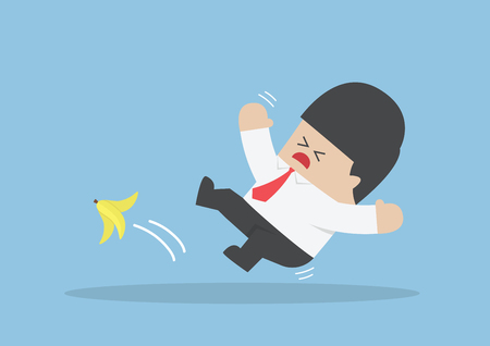 banana peel: Businessman slipping on a banana peel, VECTOR, EPS10
