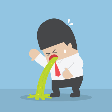 Sick businessman vomiting on the floor, VECTOR, EPS10