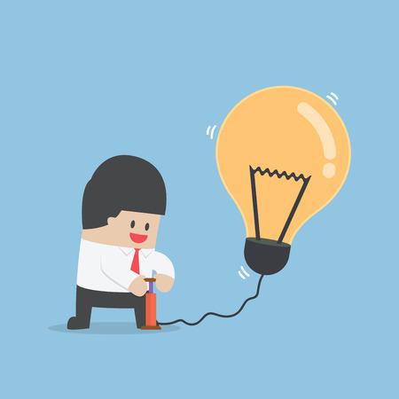 inflating: Businessman pumping air into idea balloon Illustration
