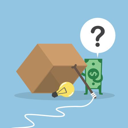 Dollar money wondering about box trap Illustration