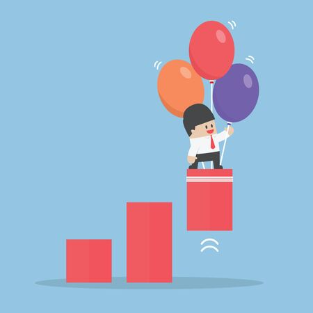 pulled: Businessman use balloon to pulled up the graph