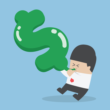 blow up: Businessman blowing air into dollar shape balloon