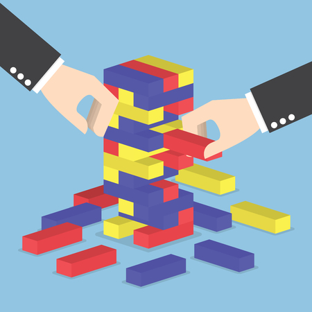 조직: 사업가 손은 나무 블록 타워 게임, 팀워크, 전략 및 비전 개념을 재생 일러스트