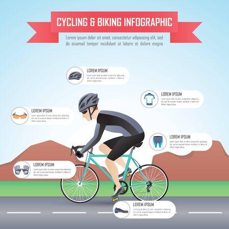 ciclismo: Ciclismo o andar en bicicleta plantilla de diseño infográfico, VECTOR, EPS10 Vectores