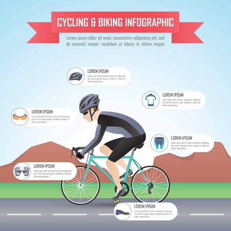 biking: Cycling or biking infographic design template, VECTOR, EPS10 Illustration