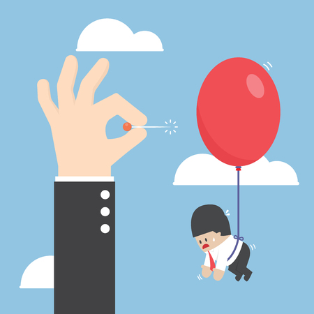 balloons: Businessman hand pushing needle to pop the balloon of his rival, VECTOR, EPS10 Illustration
