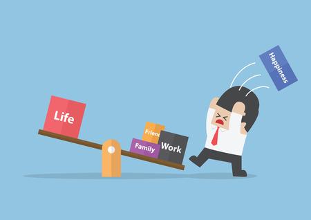 Biznesmen stara się zrównoważyć swoje życie