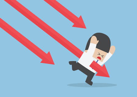 stabbed: Businessman stabbed by downtrend arrow stock market Illustration