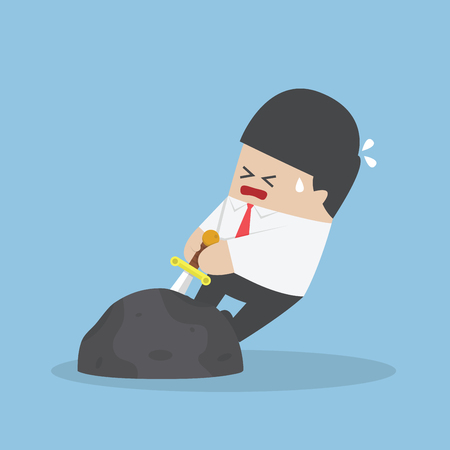 pull: Businessman try to pull sword from stone Illustration