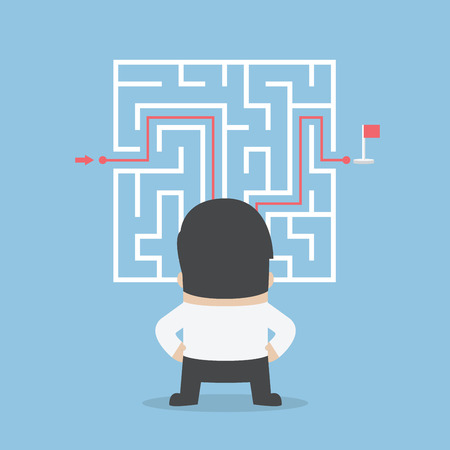 challenge: Businessman standing in front of a maze with a solution, VECTOR