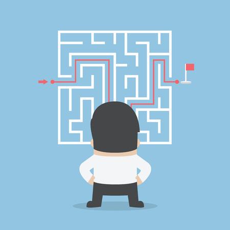 Imprenditore in piedi di fronte a un labirinto con una soluzione, VETTORE Vettoriali