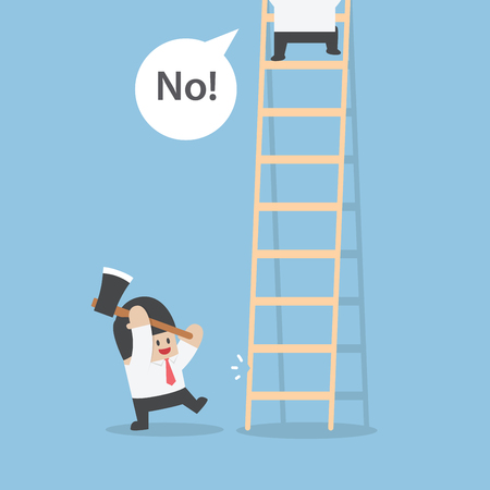 envious: Businessman destroy ladder of his rival by axe, VECTOR Illustration