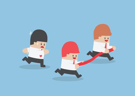rival: Businessman hold finish line away from his rival, VECTOR Illustration