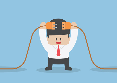 men cartoon: Businessman connecting a electric plug, VECTOR