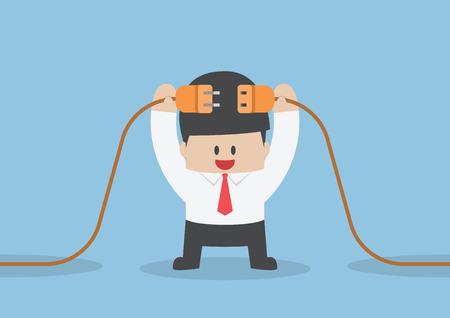fila de personas: El hombre de negocios la conexi�n de un cable de alimentaci�n el�ctrica, VECTOR Vectores