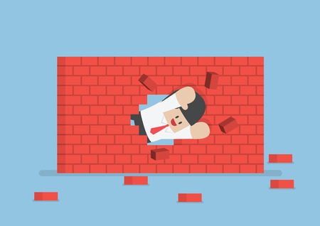 leader concept: Businessman breaking through the wall, VECTOR, EPS10 Illustration