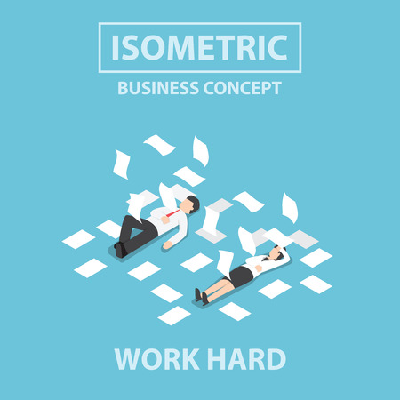 Isometric businessman and businesswoman work hard and unconscious on the floor, Flat 3d web isometric design, VECTOR,  Illustration