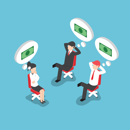 business money: Isometric businessman and businesswoman dreaming about money, VECTOR,
