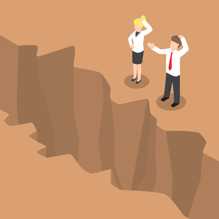cliff edge: Isometric businessman and businesswoman standing at edge of the cliff