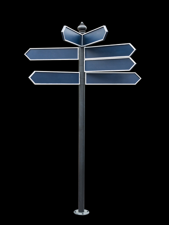 Blank directional sign isolated on black background