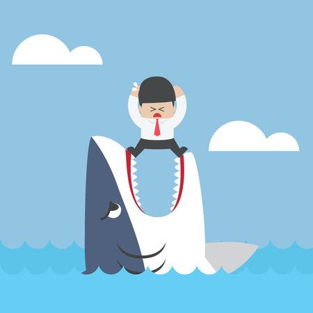sharpness: Businessman standing on Jaws of shark